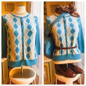 Sweaters - 👚Sky Blue Vintage Argyle Cardigan Size Small👚